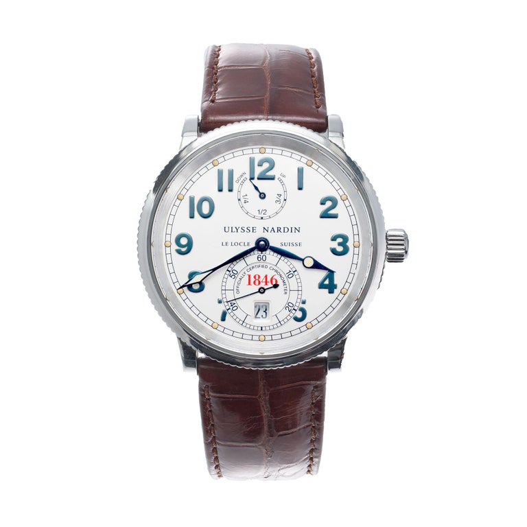 Ulysee Nardin 263-22 stainless steel marine chronometer wristwatch with a brown alligator band.  Length: 40.86mm Width: 37.58mm Band width at case: 20mm Case thickness: 10.86mm Band: genuine alligator  Crystal: sapphire Dial: silver factory