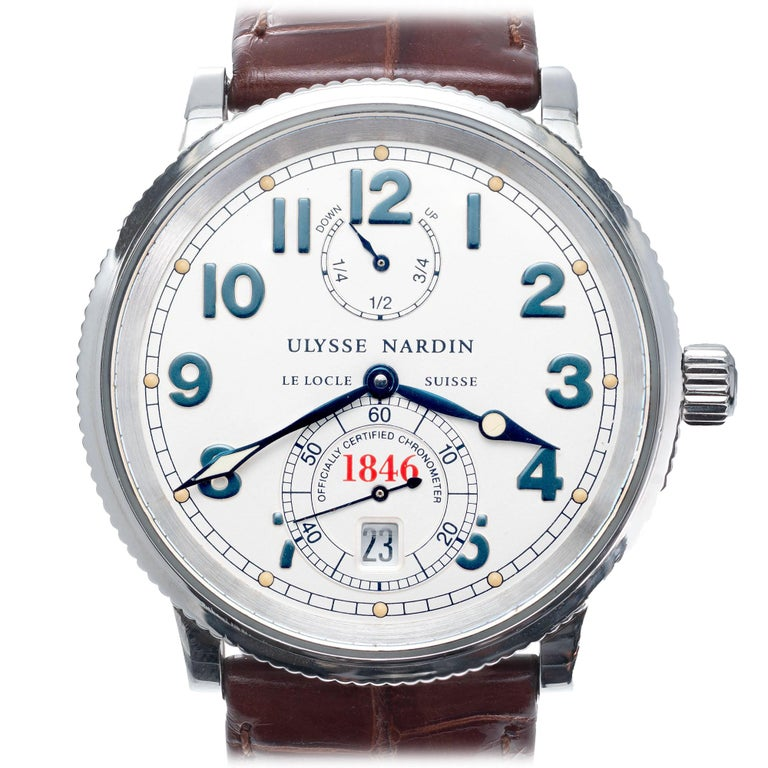 Ulysee Nardin 1846 Marine Chronometer Stainless Steel Wristwatch For Sale