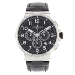 Ulysee Nardin Marine Chronograph Black Dial Steel Leather Mens Watch 1503-150/62