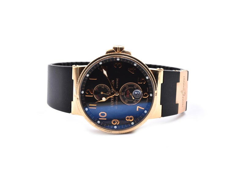 Movement: automatic Function: hours, minutes, small seconds, date power reserve indicator Case: 43mm 18k rose gold round case, sapphire crystal, pull/push crown Band: black rubber strap with rose gold buckle Dial: black dial with rose gold Arabic