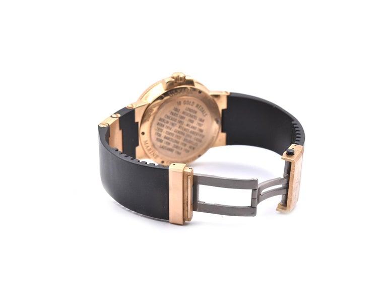 Ulysse Nardin 18 Karat Rose Gold Marine Chronometer Watch Ref. 1186-126 In Excellent Condition For Sale In Scottsdale, AZ
