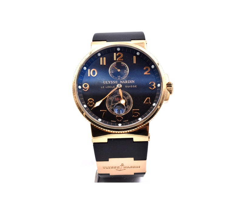Men's Ulysse Nardin 18 Karat Rose Gold Marine Chronometer Watch Ref. 1186-126 For Sale