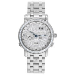 Ulysse Nardin GMT Perpetual Calendar 320-8 18k White Gold Pave Diamond Dial