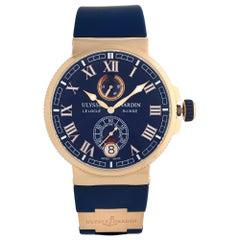 Ulysse Nardin Marine Chronometer 18k Rose Gold Blue Dial Mens Watch 1186-126/43