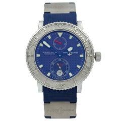 Ulysse Nardin Maxi Marine Steel Rubber Titanium Blue Dial Men's Watch 263-58 SS