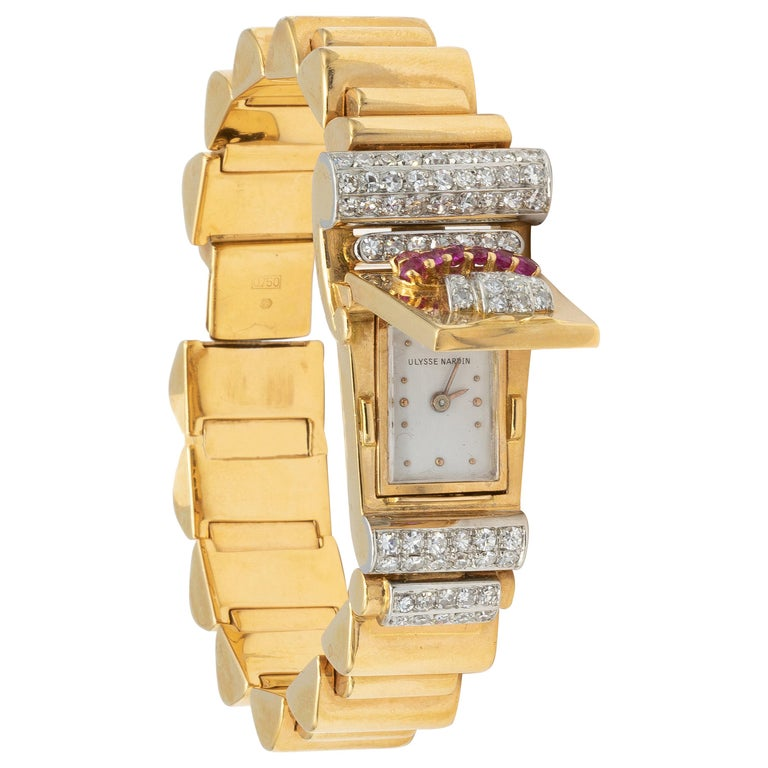 Ulysse Nardin Watch 1.40 Carat of Diamonds and .40 Carat of Rubies 18 Karat Gold For Sale