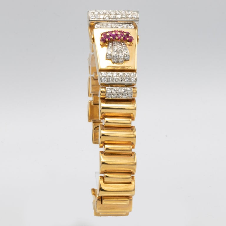 Art Deco Ulysse Nardin Watch 1.40 Carat of Diamonds and .40 Carat of Rubies 18 Karat Gold For Sale