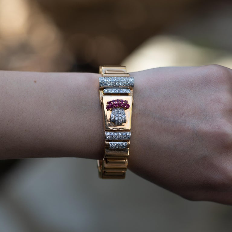 Ulysse Nardin Watch 1.40 Carat of Diamonds and .40 Carat of Rubies 18 Karat Gold In Excellent Condition For Sale In Rancho Santa Fe, CA