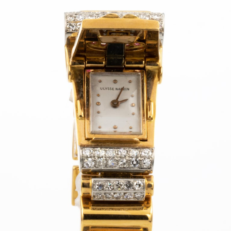 Ulysse Nardin 18K Gold Watch With 1.4 Carats of Diamonds & .4 Carats of Rubies In Excellent Condition In Rancho Santa Fe, CA