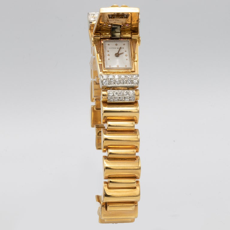 Ulysse Nardin Watch 1.40 Carat of Diamonds and .40 Carat of Rubies 18 Karat Gold For Sale 2