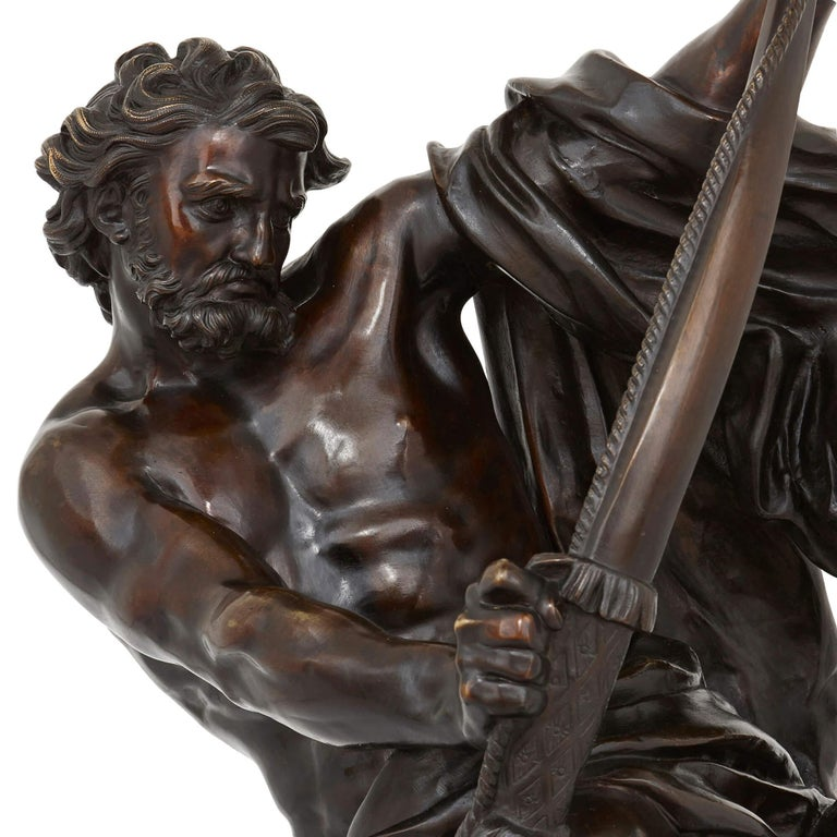 Neoclassical 'Ulysses Bending His Bow', 19th Century Bronze Sculpture For Sale