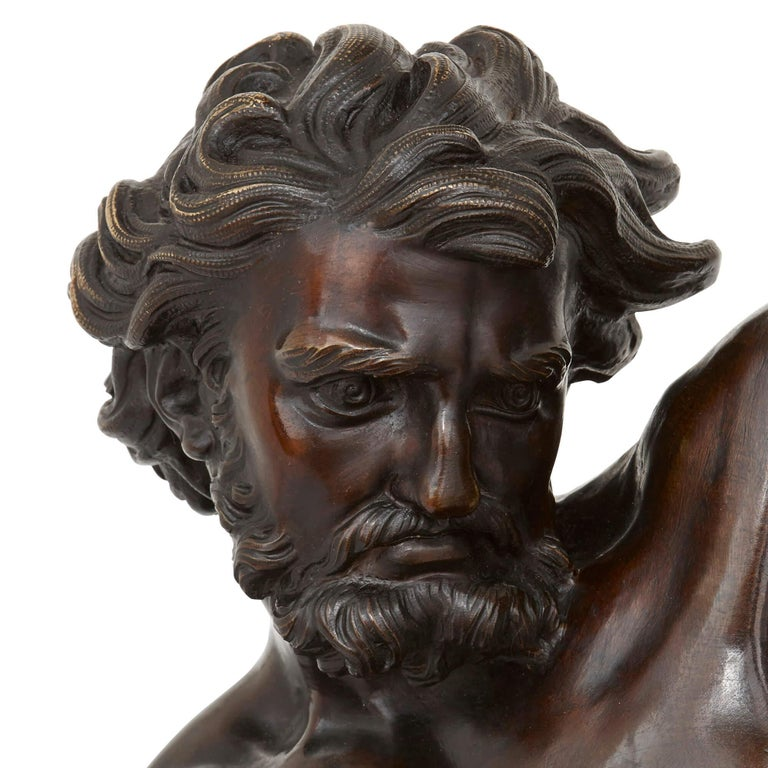 French 'Ulysses Bending His Bow', 19th Century Bronze Sculpture For Sale