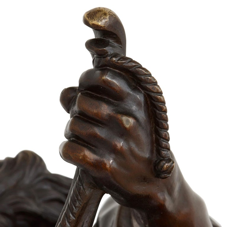 Patinated 'Ulysses Bending His Bow', 19th Century Bronze Sculpture For Sale