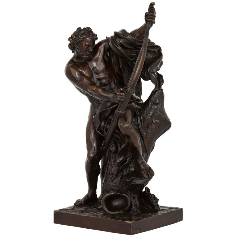 'Ulysses Bending His Bow', 19th Century Bronze Sculpture For Sale