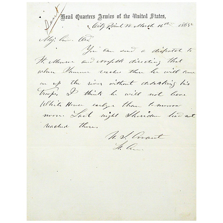 Ulysses S. Grant - Autograph Letter Signed Directing Generals for the War's End For Sale
