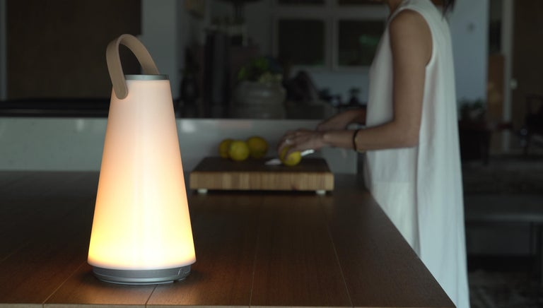 Uma Sound Lantern in Aluminium and Tan by Pablo Designs For Sale 8