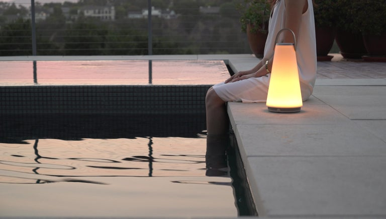 Uma Sound Lantern in Aluminium and Tan by Pablo Designs For Sale 11