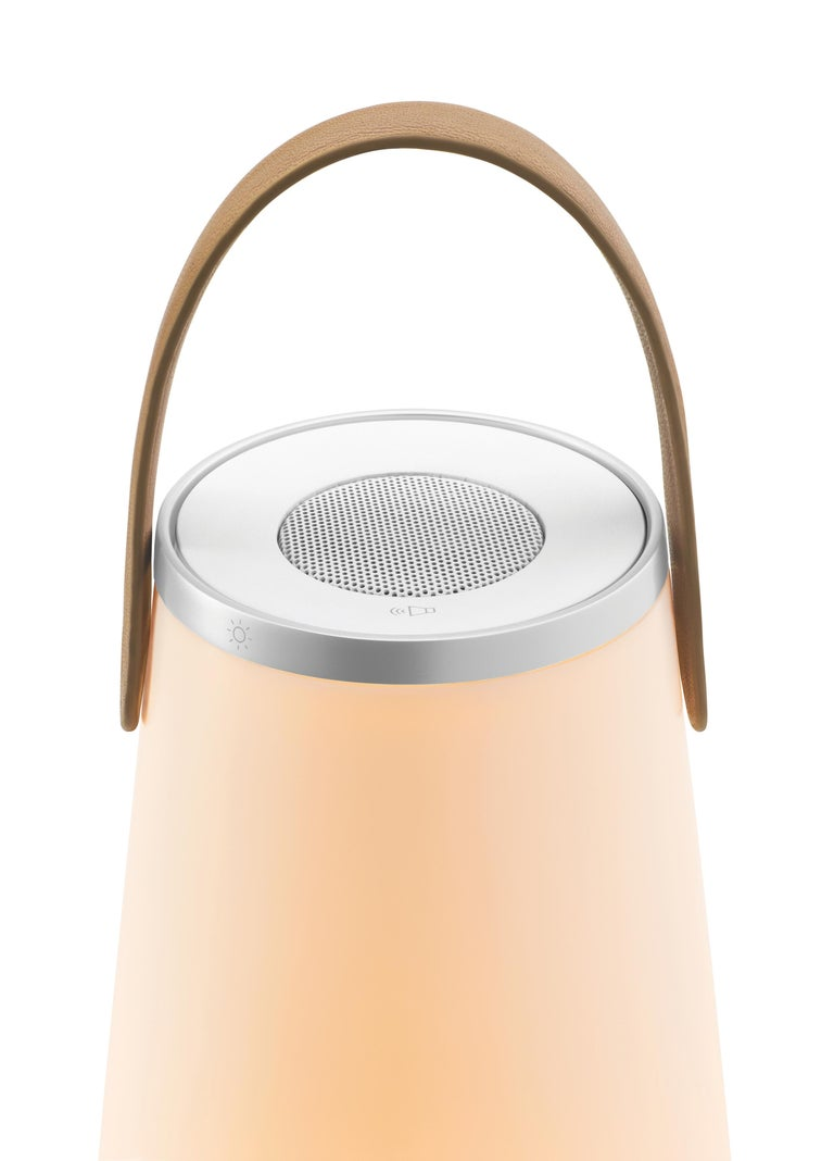 Modern Uma Sound Lantern in Aluminium and Tan by Pablo Designs For Sale