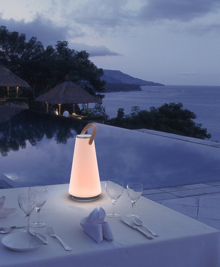 Steel Uma Sound Lantern in Aluminium and Tan by Pablo Designs For Sale