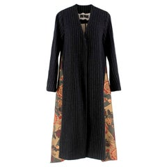 Uma Wang Pinstripe Oversize Coat W/ Tapestry Embroidered Back  S