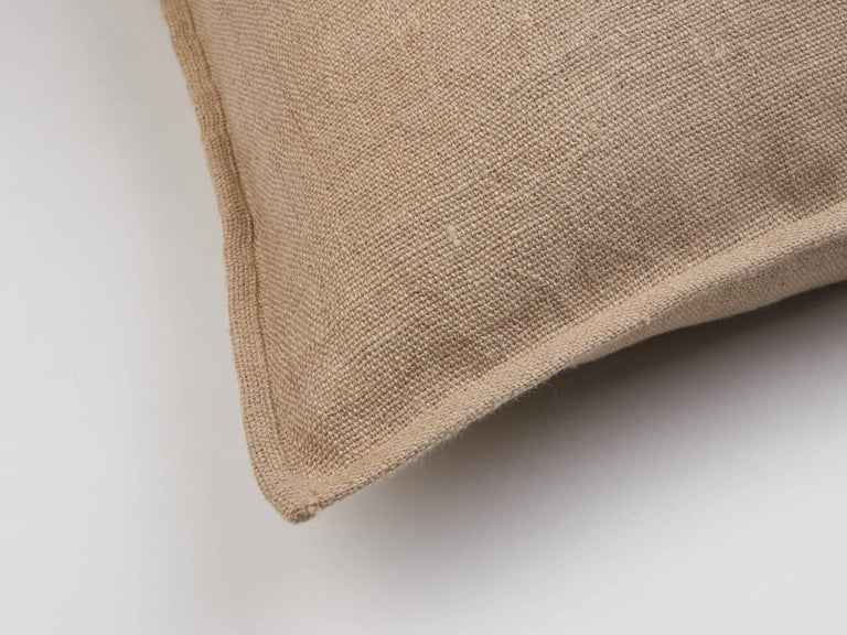 Indian Umai Hand Embroidered Beige Linen Pillow Cover For Sale