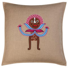 Umai Hand Embroidered Beige Linen Pillow Cover