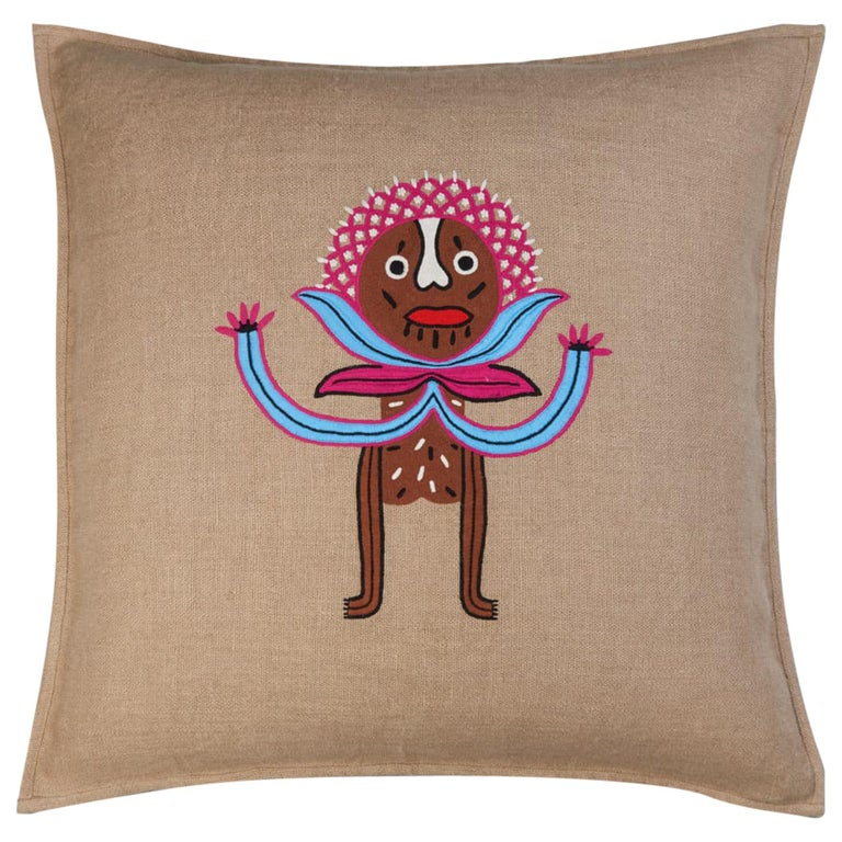 Umai Hand Embroidered Beige Linen Pillow Cover For Sale