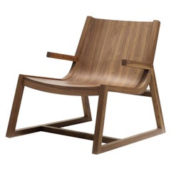 Umber Modern Low Armchair in Walnut Wood with Crafted Arm Detail