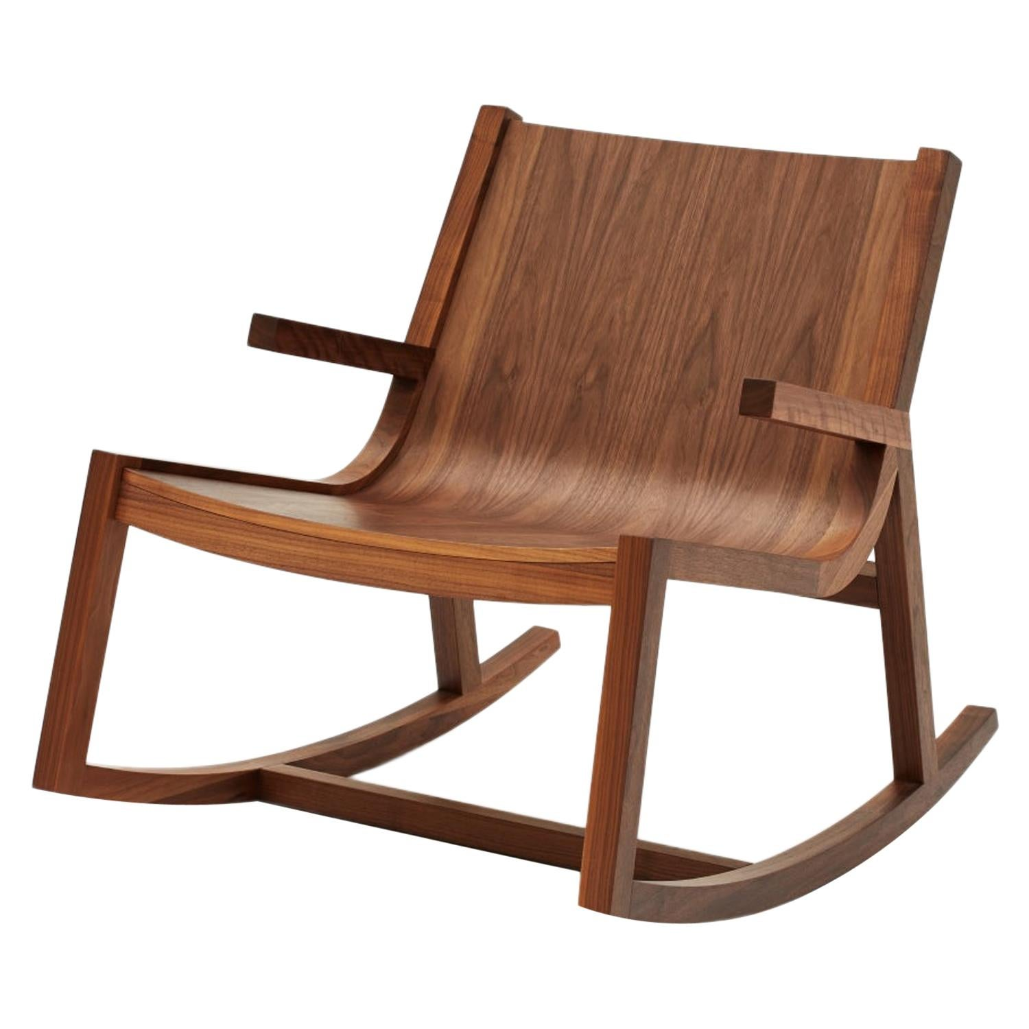 Umber Rocker Modern Low Rocking Chair in Walnut with Crafted Arm Detail