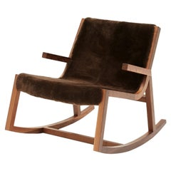 Umber Rocker Modern Low Rocking Chair in Walnut with Shearling Sheepskin Throw