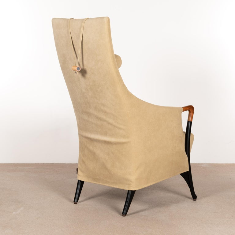 Late 20th Century Umberto Asnago Progetti Wing Armchair in Natural Alcantara for Giorgetti