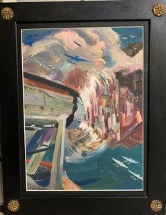 "TEN-YEAR AIR CRUISE ""ROME-CHICAGO-NEW YORK OF1933"",cm 42 x 58 Tempera"