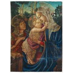 Umberto Giunti Italian Oil Tempera Wooden Panel Madonna Child Rose Garden