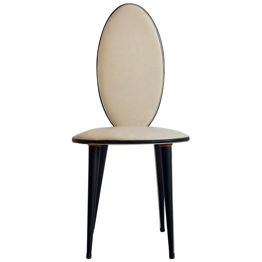 Umberto Mascagni Cream and Black Colored Faux Leather Chair