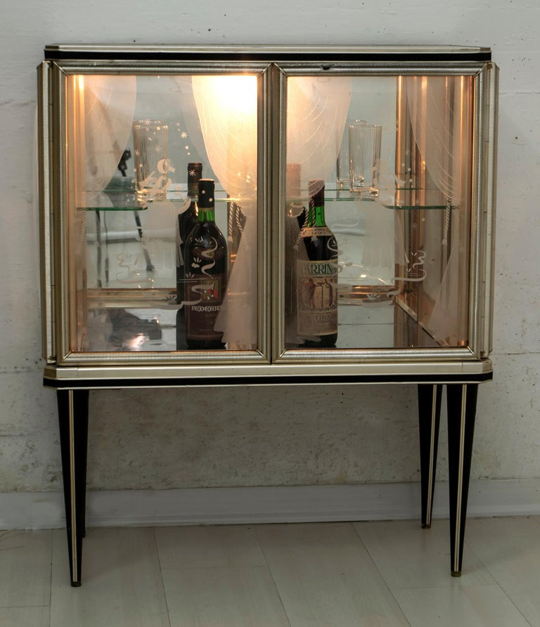 Umberto Mascagni for Harrods London Midcentury Italian Bar Cabinet, 1950s For Sale 10