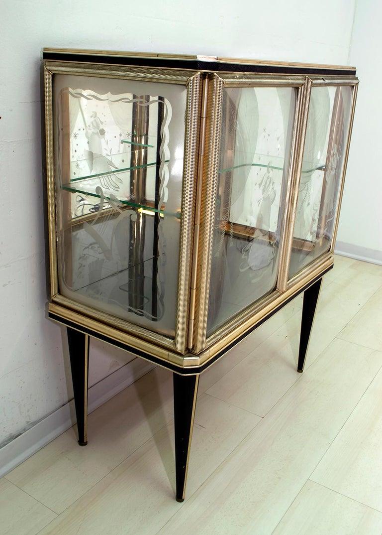 Mid-Century Modern Umberto Mascagni for Harrods London Midcentury Italian Bar Cabinet, 1950s For Sale