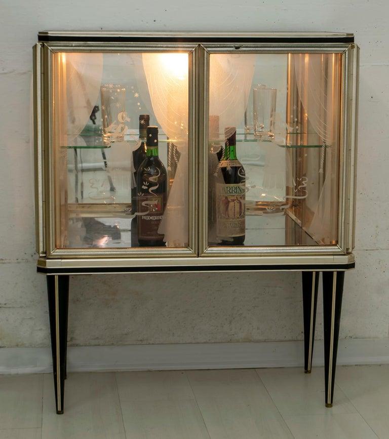 Umberto Mascagni for Harrods London Midcentury Italian Bar Cabinet, 1950s In Good Condition For Sale In Cerignola, Italy Puglia