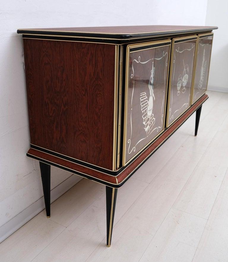 Mid-20th Century Umberto Mascagni for Harrods London Midcentury Italian Bar Cabinet, 1950s For Sale