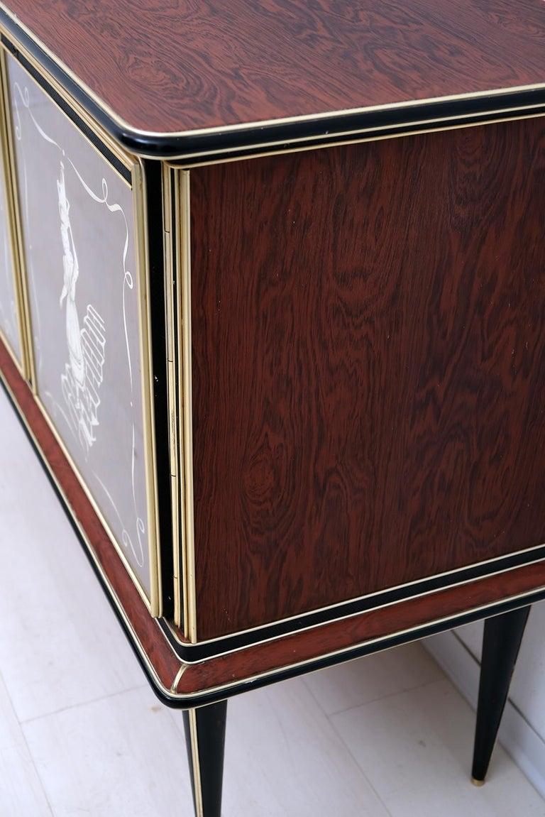 Umberto Mascagni for Harrods London Midcentury Italian Bar Cabinet, 1950s For Sale 2