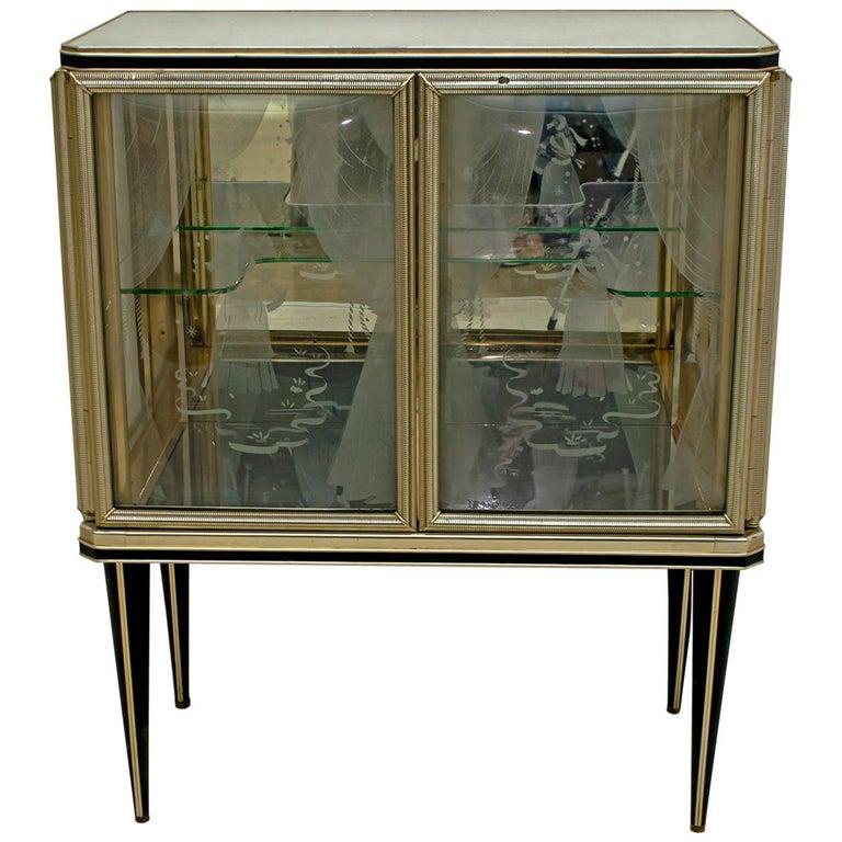 Umberto Mascagni for Harrods London Midcentury Italian Bar Cabinet, 1950s For Sale