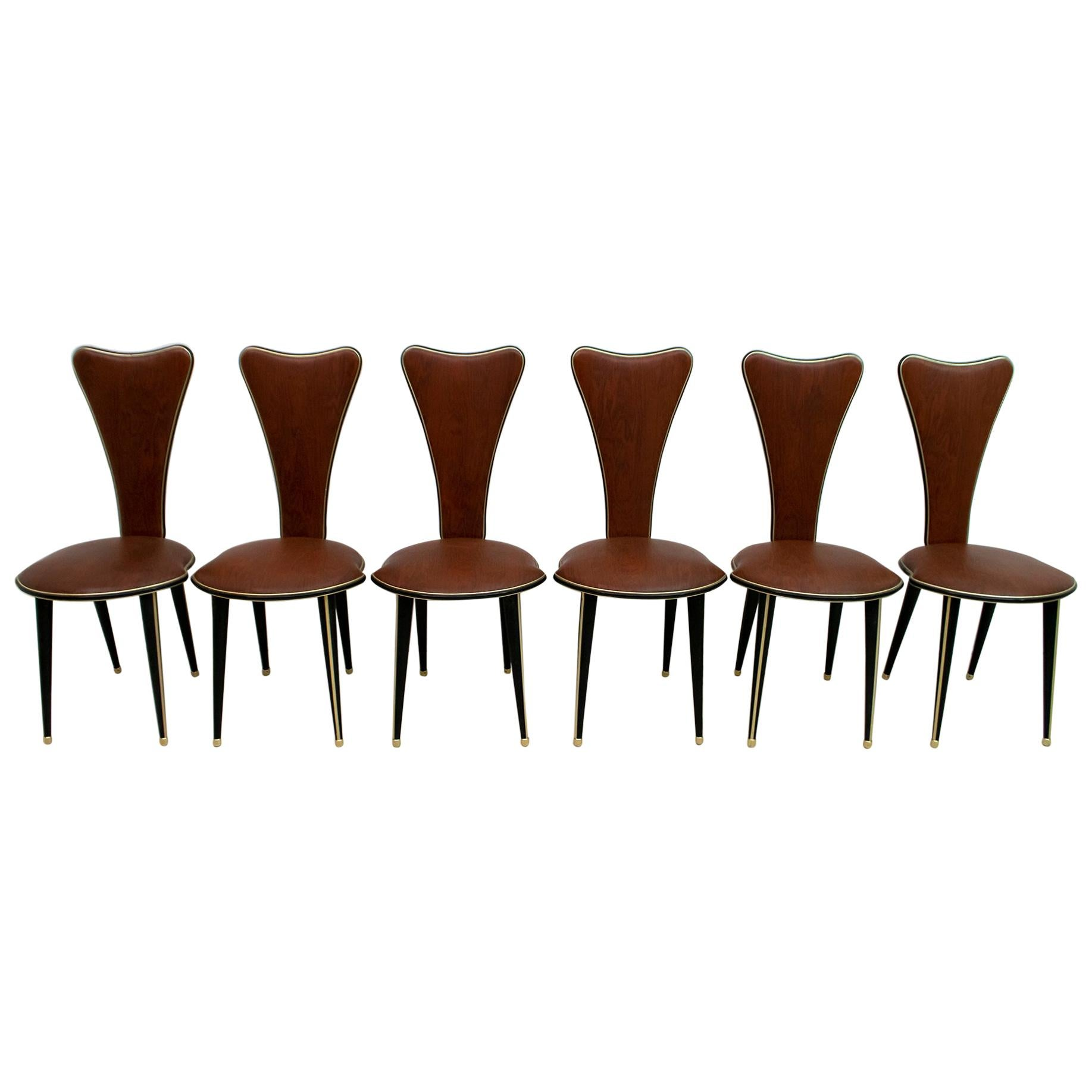 Umberto Mascagni for Harrods London Midcentury Modern Italian Dining Chairs, 50s