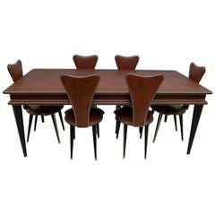 Umberto Mascagni for Harrods Mid-Century Italian Dining Table and 6 Chairs, 50s