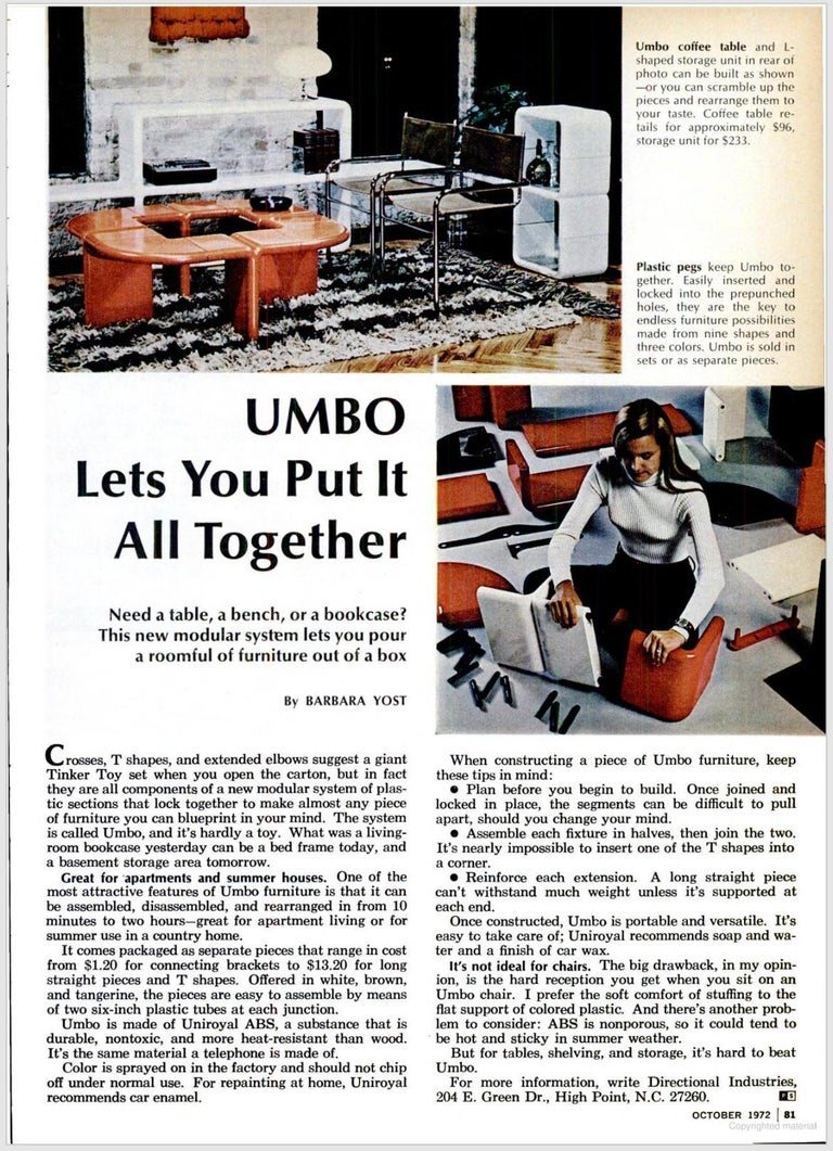 'UMBO' Modular Shelving System by Kay Leroy Ruggles for Directional, 1972 For Sale 11