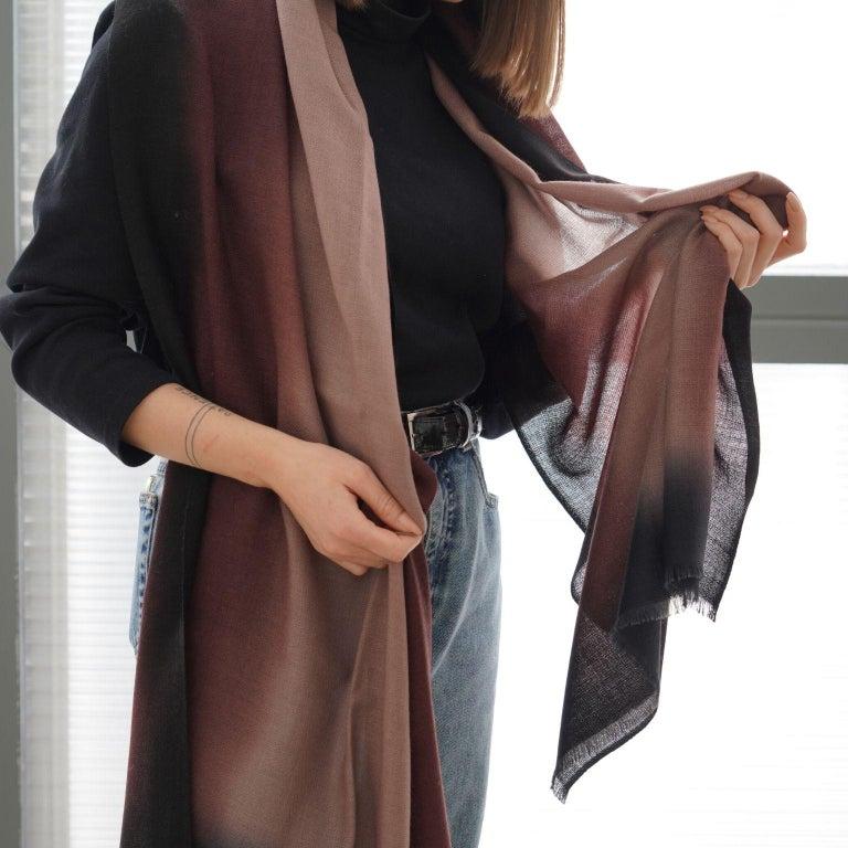 Hand-Woven UMBRA Mink Cashmere Merino Light Weight Throw  For Sale