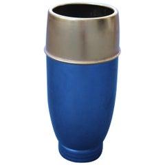 Umbrella Aluminum Blu Old Gold Italian Design Mid-Century Modern Sottsass Style