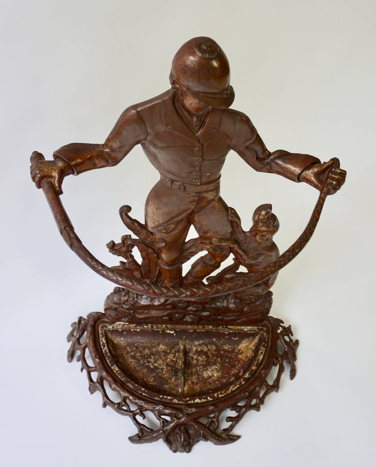 English Victorian Umbrella Stand Representing  a Hunter with his Dog For Sale 1