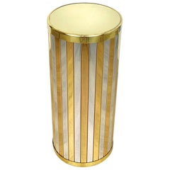 Umbrella Stand in Brass and Chrome Romeo Rega Style, Italy, 1970s