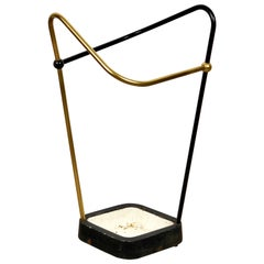 Umbrella Stand in Brought Iron, Brass, Aluminium, Bauhaus style, Germany, 1950s