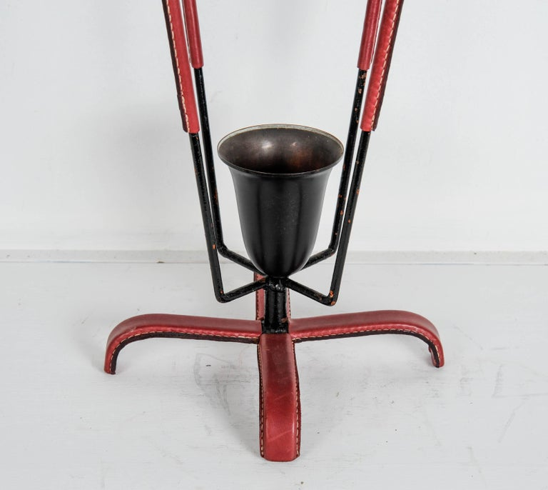 French Umbrella Stand in Stitched Leather by Jacques Adnet For Sale