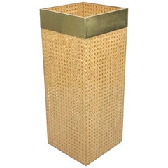Umbrella Stand Lucite, Rattan and Brass by Christian Dior Home, France, 1970s